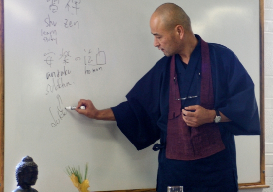 Shohaku Okumura Roshi lecturing at the Sillpoint Zen Community's November 2010 retreat in Pittsburgh.