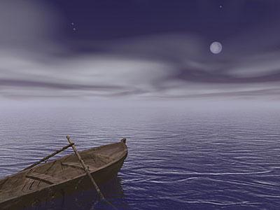 Drifting boat in moonlight